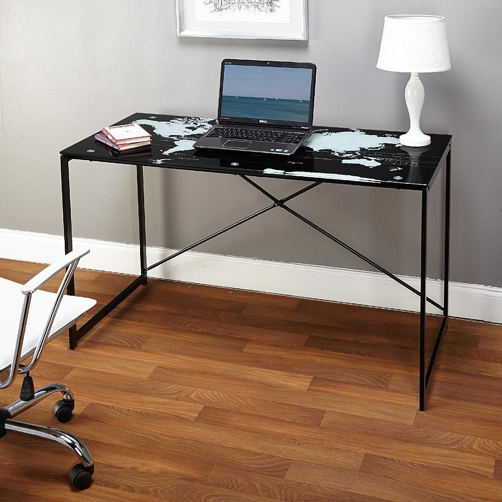 glass top computer desk home office writing workstation world map pattern black slv modern