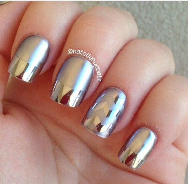 Silver matt and chrome nail design