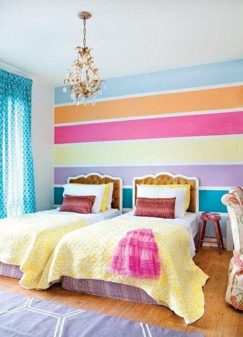 Kinderzimmer streichen idee design tafel bunt streifen wand - wandgestaltung mit farbe streifen schlafzimmer