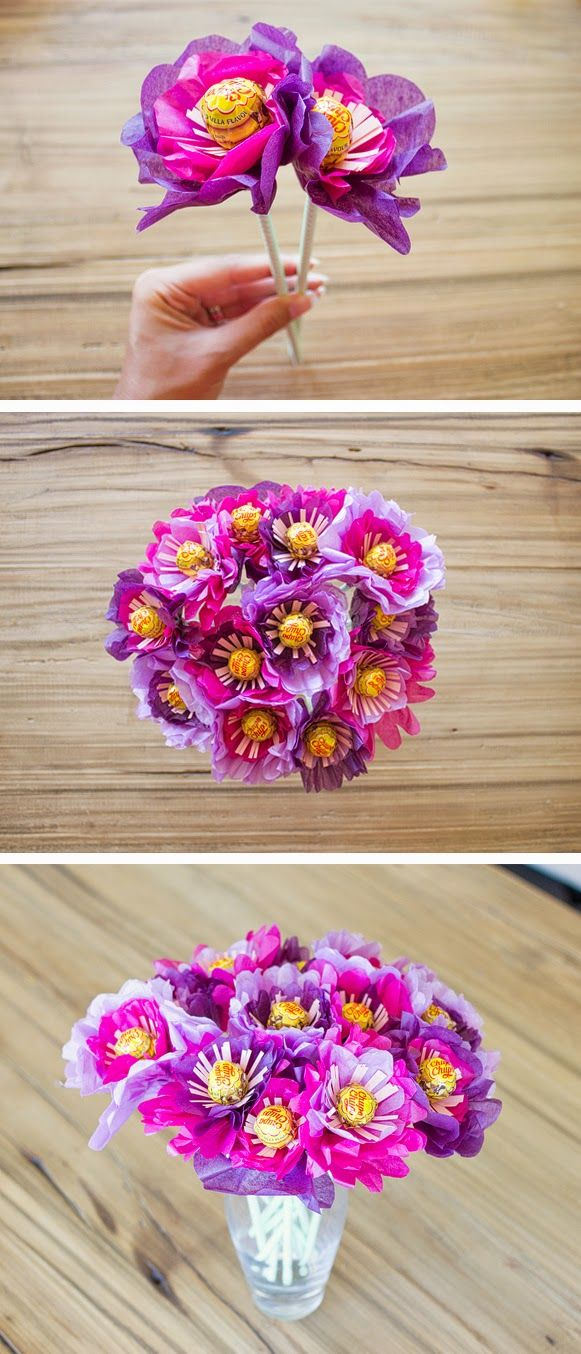 Voyages of the creative variety diy valentine flowers gift ideas diy valentines day ideas a bouquet of flowers made out of tissue paper and lollipops izmirmasajfo