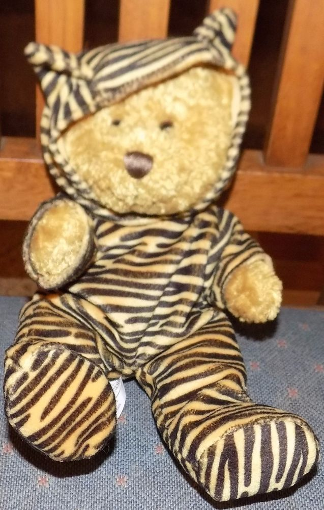 "7"" Sitting DGE CORP Snuggie Toy Plush BROWN Bear Tiger STRIPED Removable Outfit #SnuggieToy"
