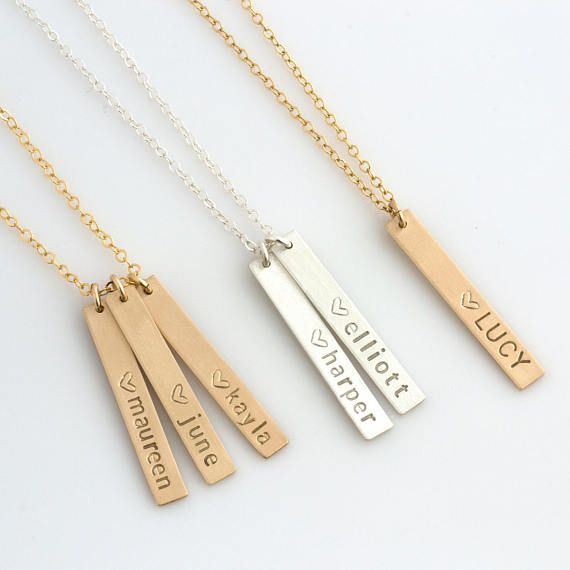 14K Made for Mom Engravable Double Bar Necklace by JEWLR
