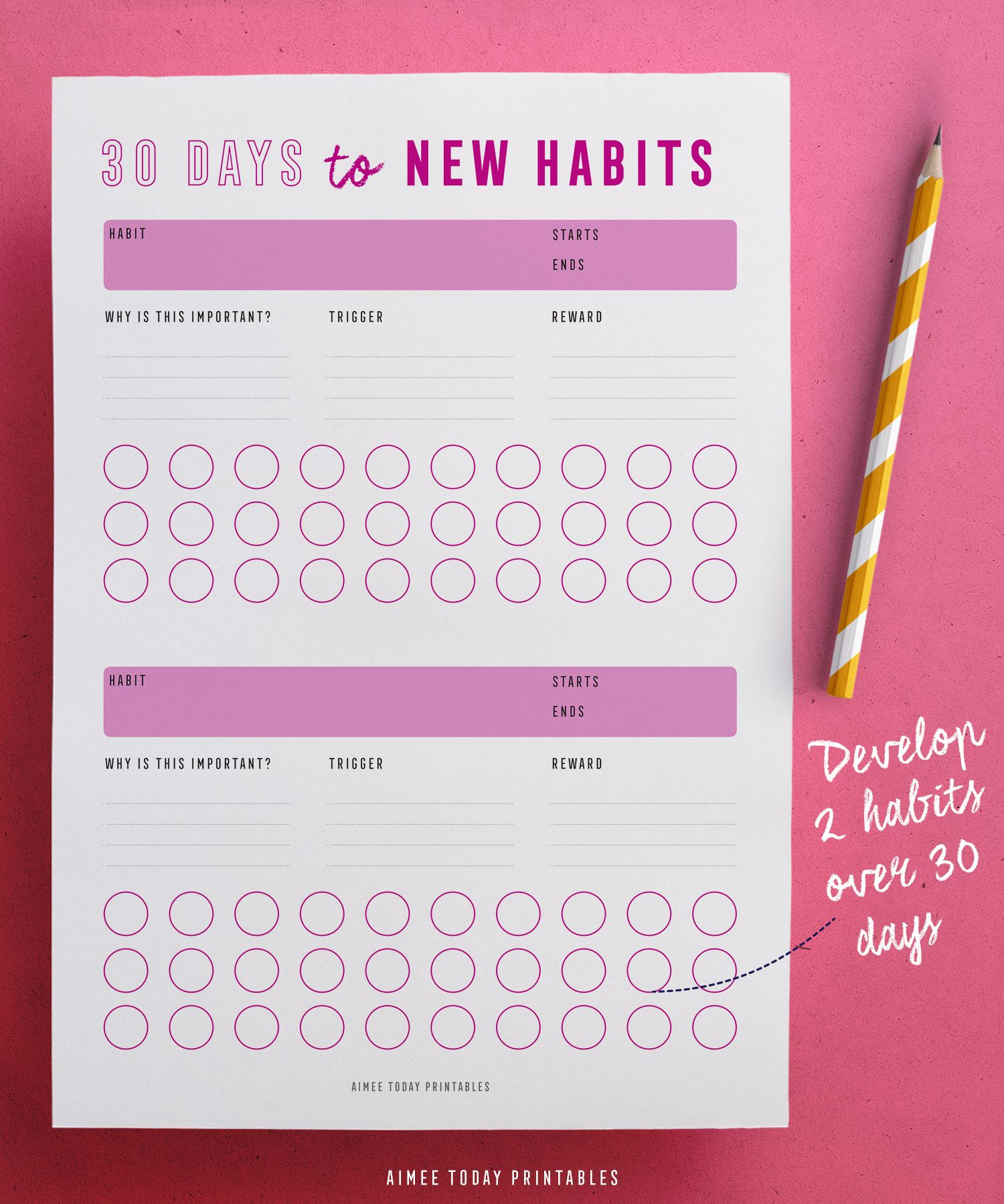 Printable Habit Tracker Kit Instant Download To Help You