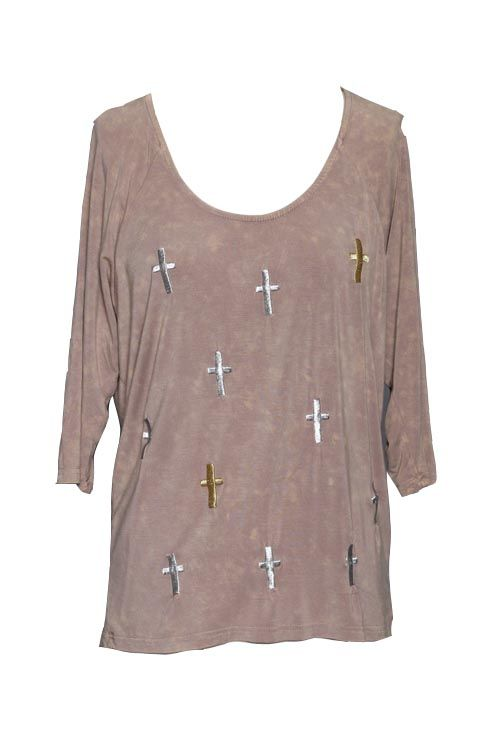 Beige Tee with Silver and Gold Embroidered Multi Crosses www.rhinestonegal.com