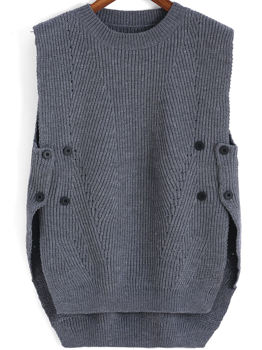 Grey Round Neck Buttons Knit Sweater | Rounding, Gray and Shopping