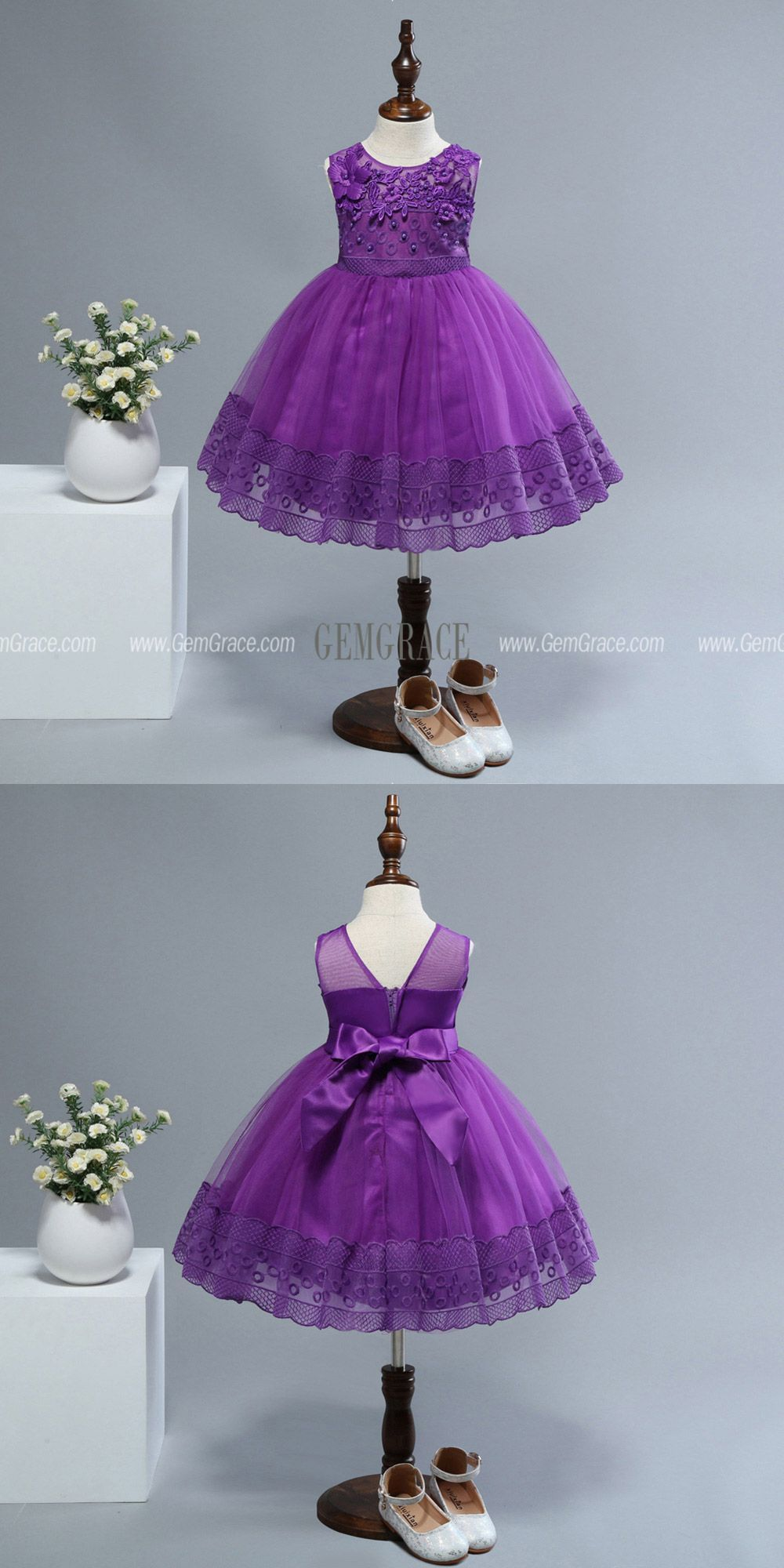 e692d1fd85741 $35.5 Cheap Purple Lace Short Flower Girl Dress For 2 Year Old #QX ...