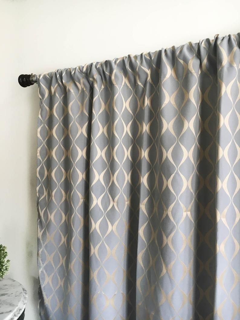 Grey Gold Curtain Panel 84 90 96 108 120 Inch Blackout Etsy