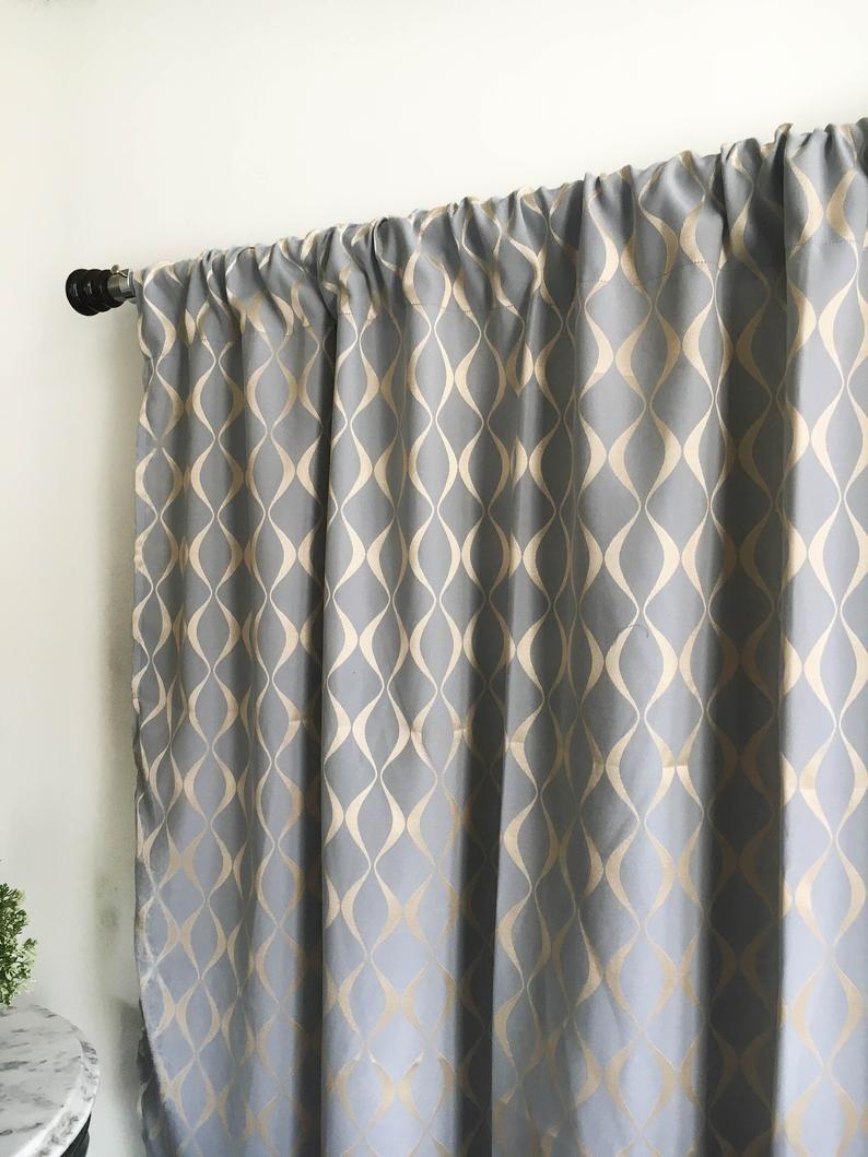 grey gold curtain panel 84 90 96 108