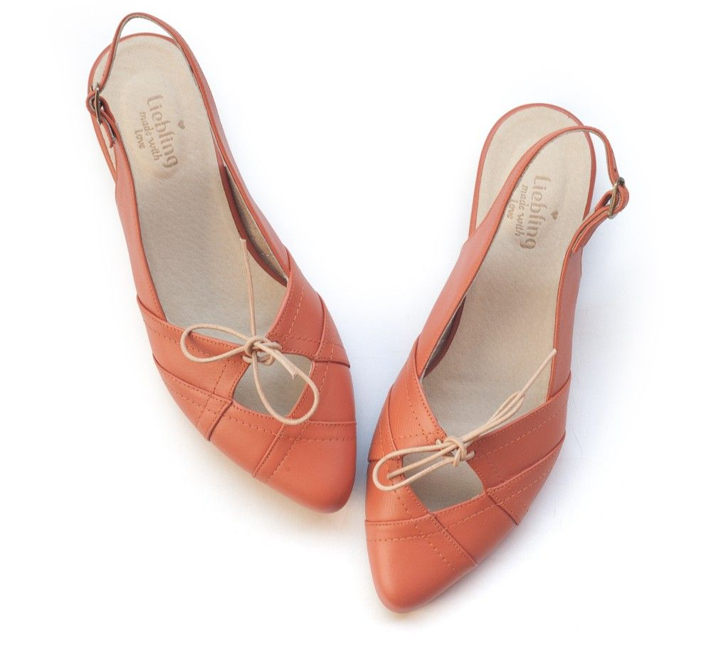 Suki Coral Shoes. Handmade leather Flats.