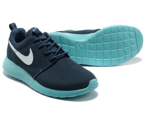 2a7b50a6d878e Nike Roshe Run Mens Mesh Dark Navy Light Blue Shoes