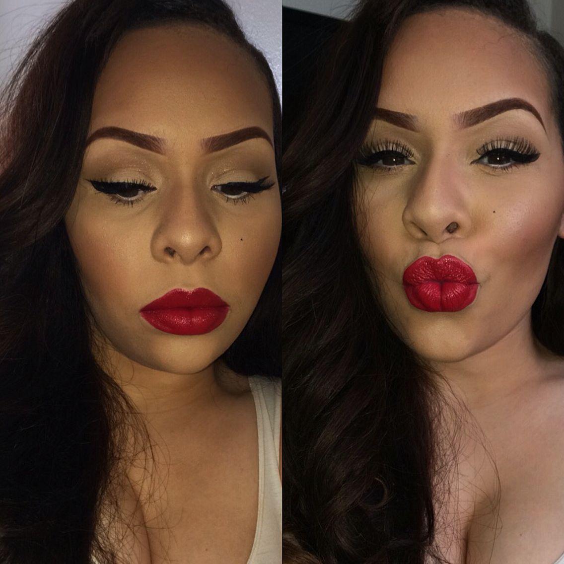 #ohriyaofficial #makeupbyriya #boldlippie red lips brown eyes