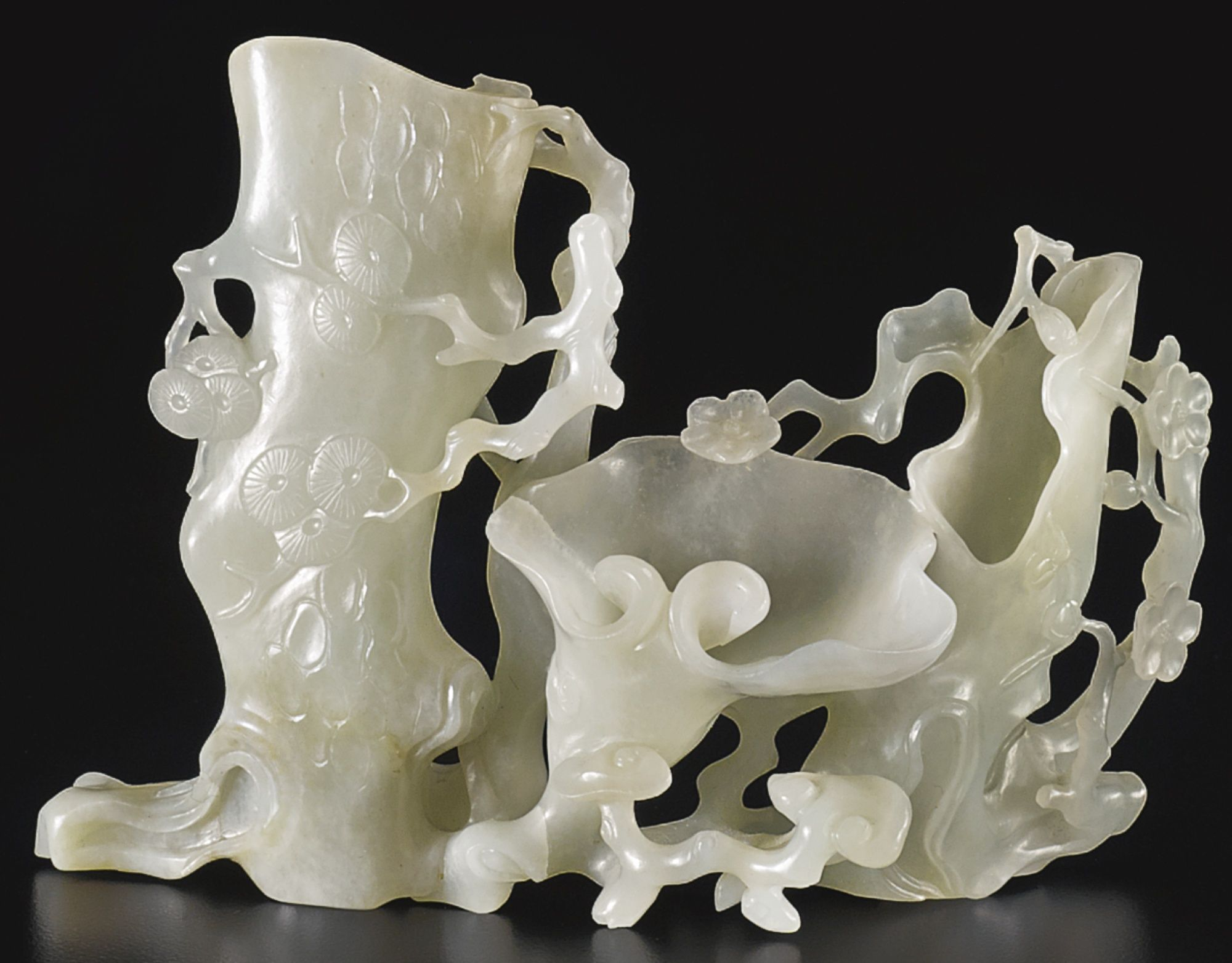 A White Jade Three Friends Of Winter Flower Receptaclebrqing