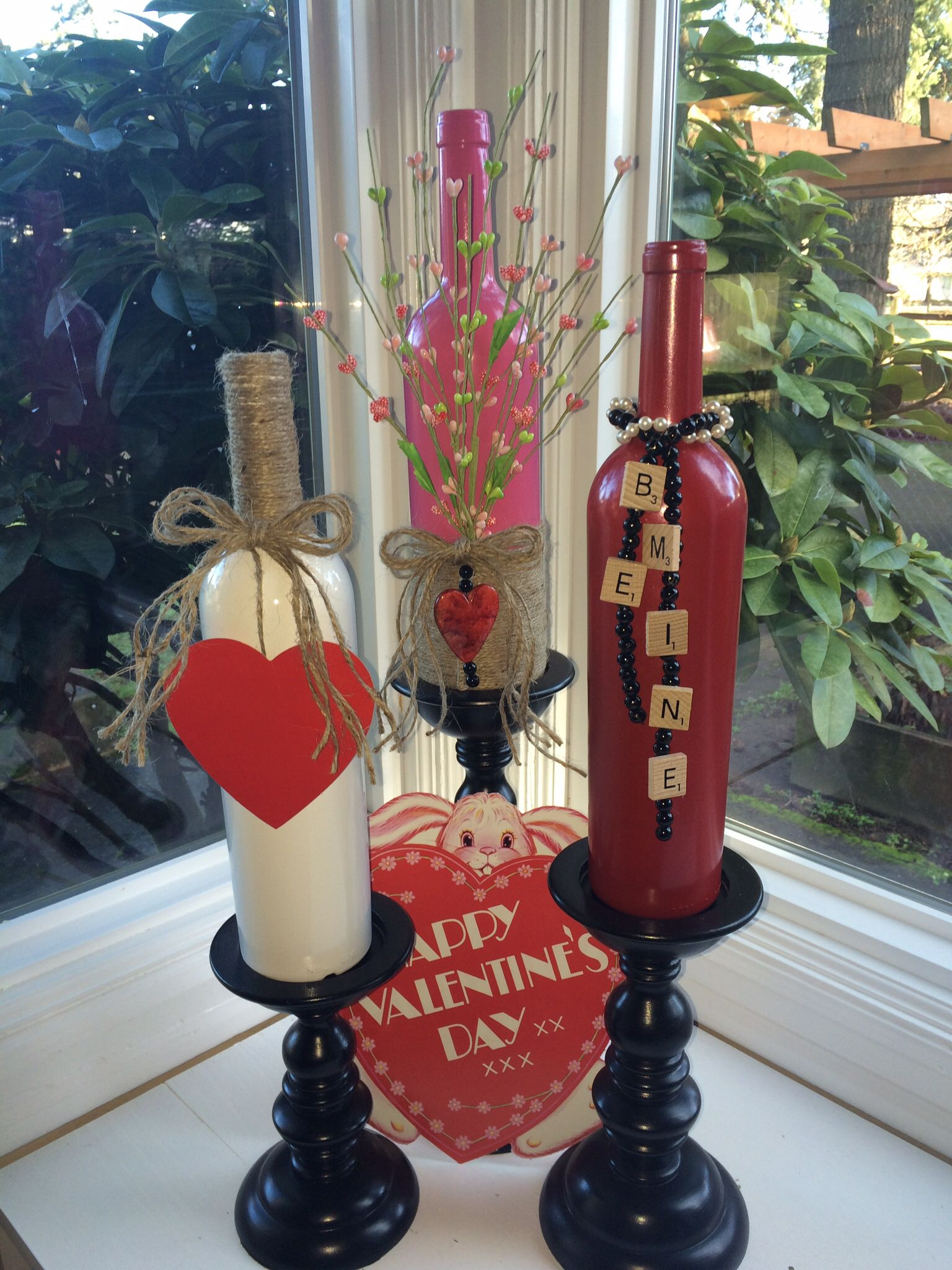 Repurposed A Few Wine Bottles For Valentine S Day Using Various Things From Around The Diy Valentines Decorations Valentine Decorations Valentines Wine Bottles