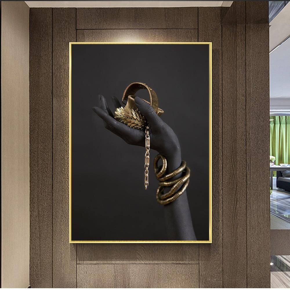 Black Woman S Hand With Gold Jewelry Canvas Print Gold Wall Art Wall Art Canvas Painting Canvas Art Wall Decor