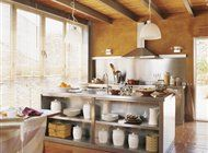 kitchen with an isle