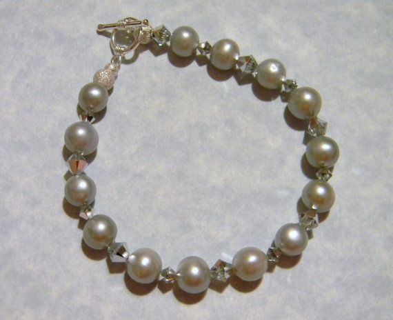 Pearl 6mm Champagne Pink Round Glass 7 Stretch Bracelet