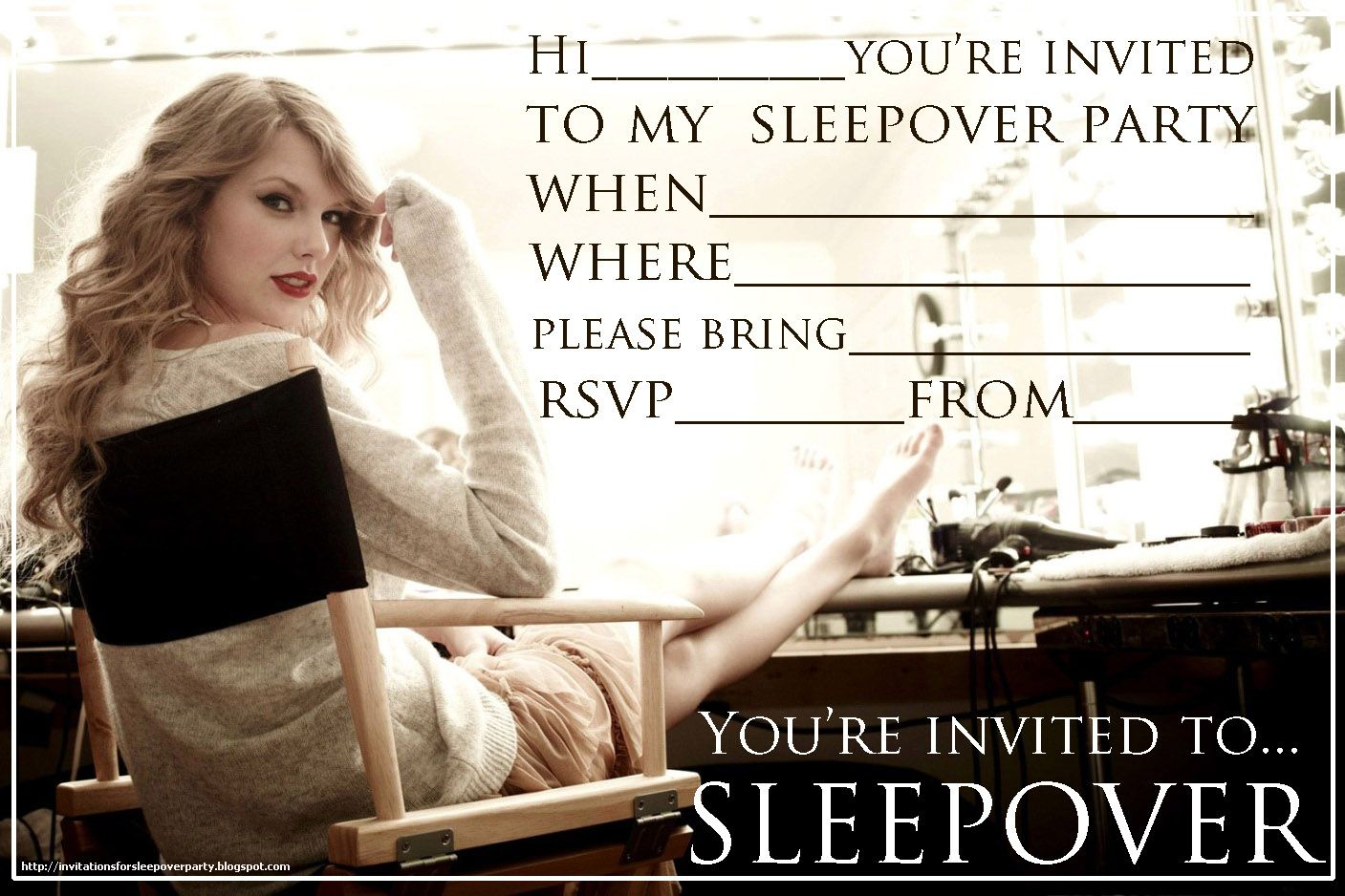 INVITATIONS FOR SLEEPOVER PARTY FEATURING TAYLOR SWIFT - FREE TO ...