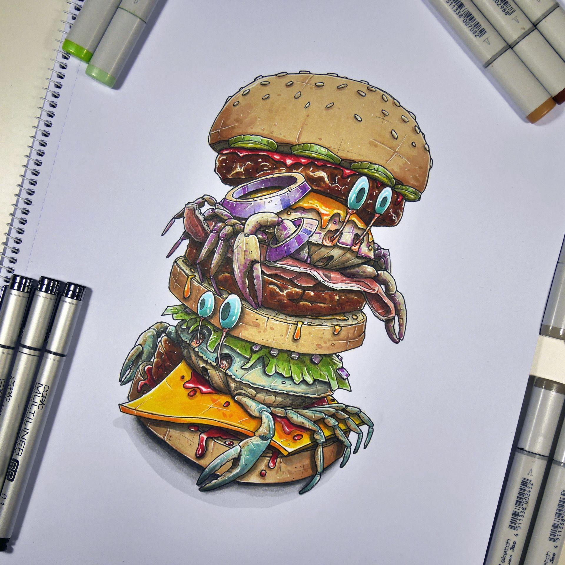Artstation - Crabs Burger Tino Valentin Food And Beverage & In 2019