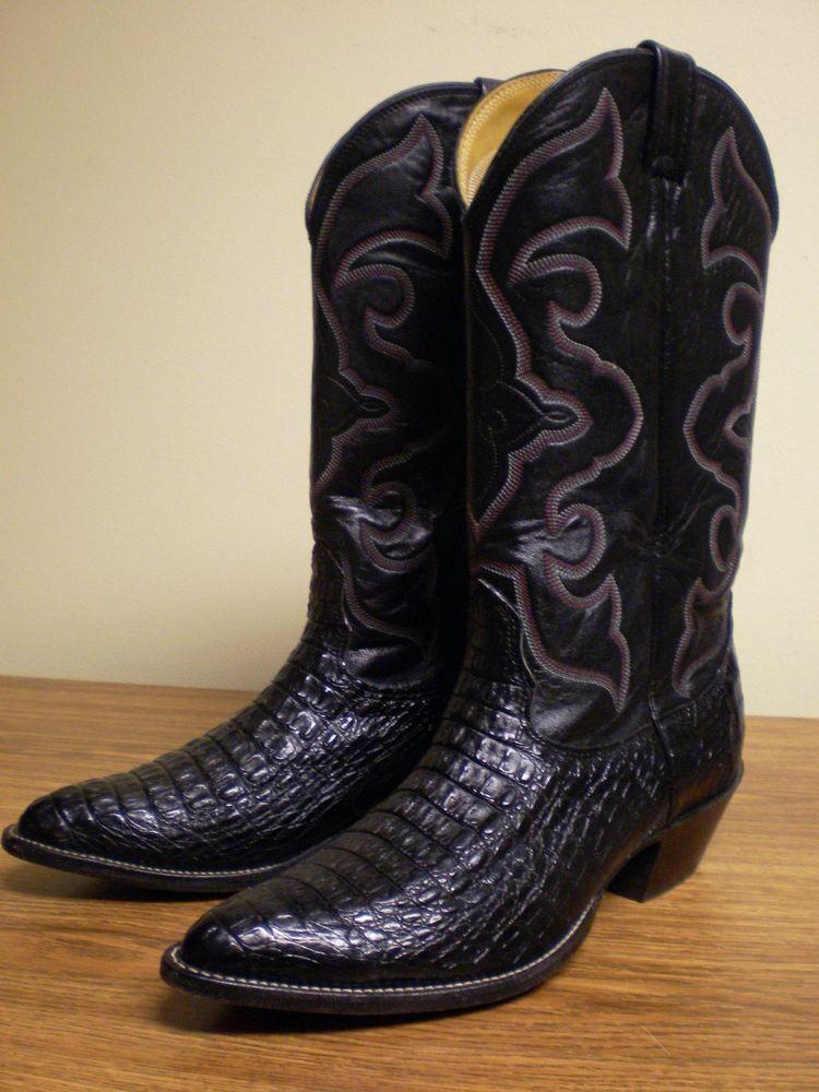 Nocona vintage Men's 8 1/2 8.5 2E black alligator cowboy boots  #Nocona #CowboyWestern