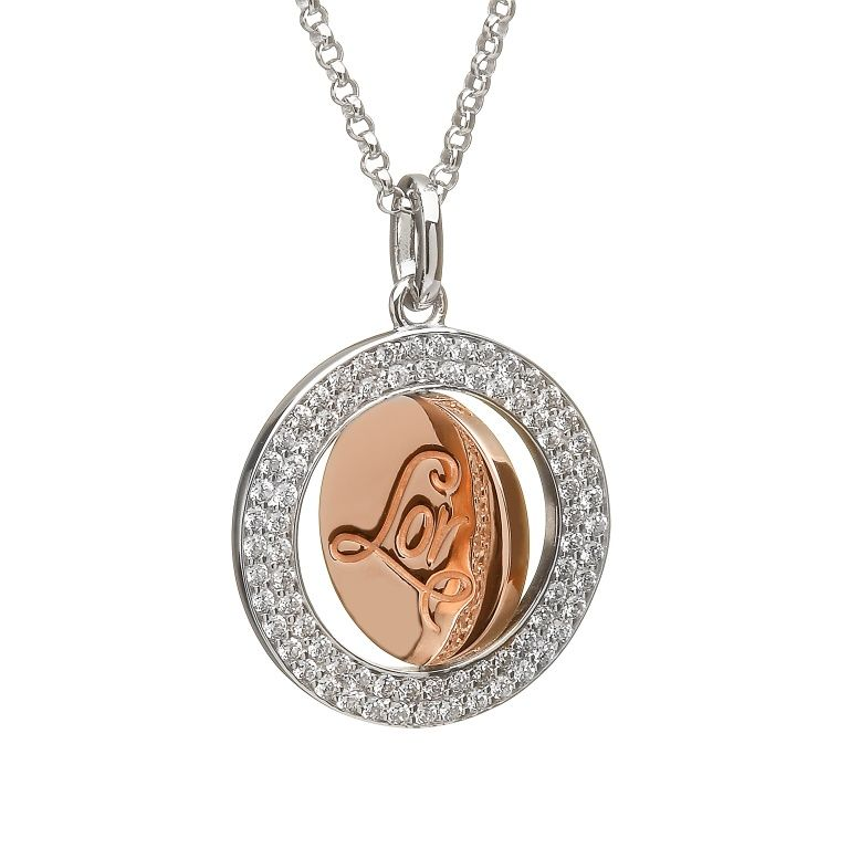 Round LOR disc pendant #houseoflor #irishjewelry #irishgold #pendant #sterlingsilver #rosegold