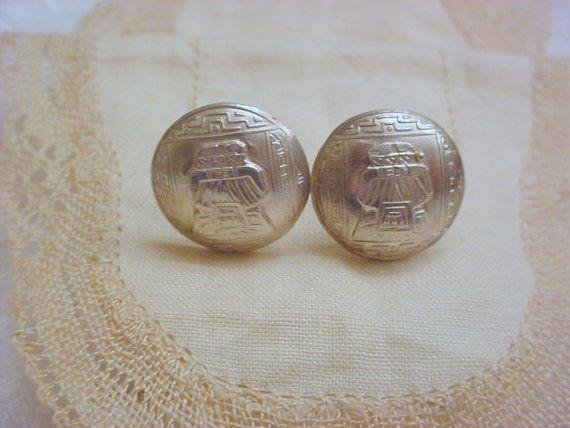 Vintage Mayan Aztec Sterling Screw Back Earrings by Zeppola, $34.00