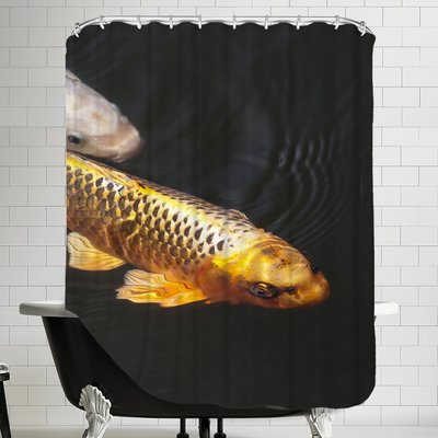 East Urban Home Fish Style Single Shower Curtain In 2020 East Urban Home Orange Koi Bath Rugs Sets