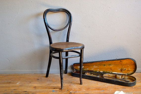 Chaise Bistrot Thonet N28 Bois Courbe 1900 Assise Coeur Patine Noire Boheme Old French Chair Bentwood Heart Seat Bohemian
