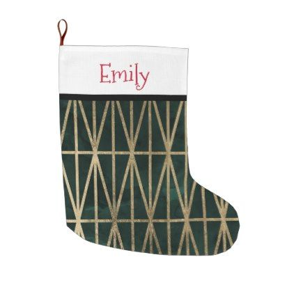 6e2b8eab2 Modern gold geometric triangles green watercolor large christmas stocking - christmas  stockings merry xmas cyo family gifts presents