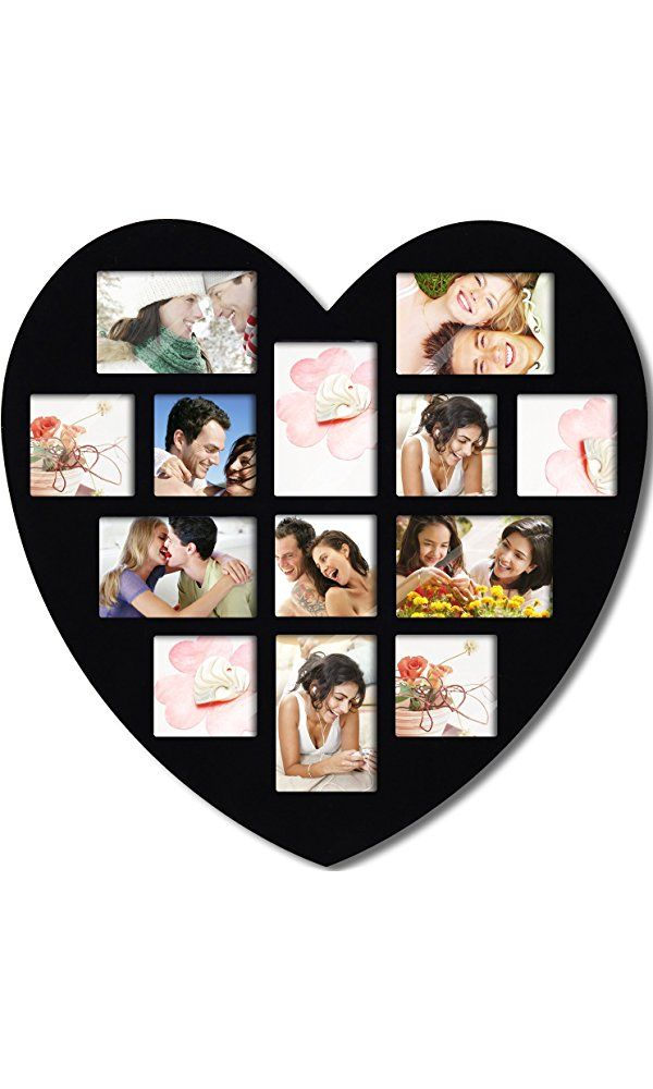 Asense Black Wood 13 Openings of 4x6 inches, 4x4 inches Wall Hanging Heart-Shaped Picture Photo Frame Best Price