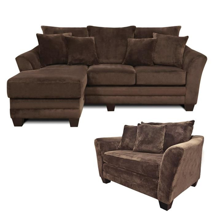 Contemporary Brown Sofa Chaise and Chair and a Half