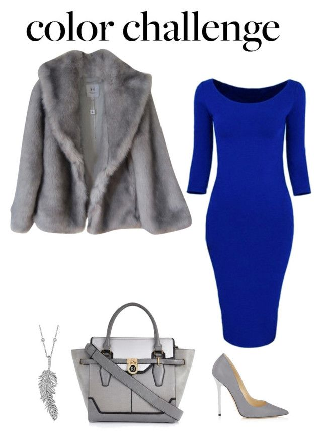 """""""color challenge"""" by adancetovic ❤ liked on Polyvore featuring Halston, River Island, Jimmy Choo and Penny Preville"""