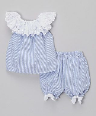 Blue & White Ruffle Top & Bloomers - Infant & Toddler