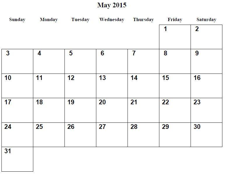 Monthly Calendar Printable 2015 May 001 Di 2020