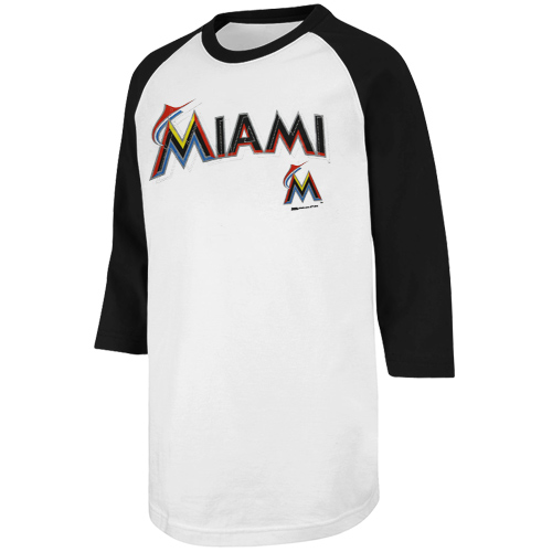 215449a7c MLB Stitches Miami Marlins Team Color Raglan T-Shirt - White