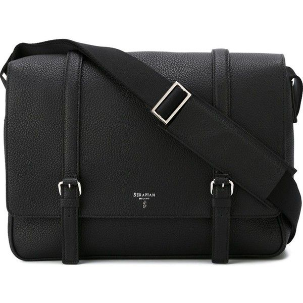 Serapian buckled laptop messenger bag ($1,265) ❤ liked on Polyvore featuring bags, messenger bags, black, messenger bag, buckle bag, laptop bag, laptop messenger bag and serapian bags