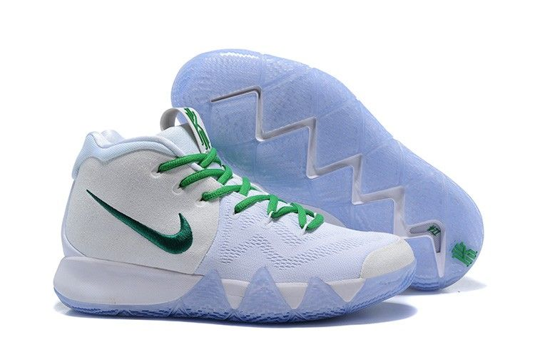 "2018 Nike Kyrie 4 ""Celtics"" PE White Green Basketball Shoes With Box 484ee8ec4d6"