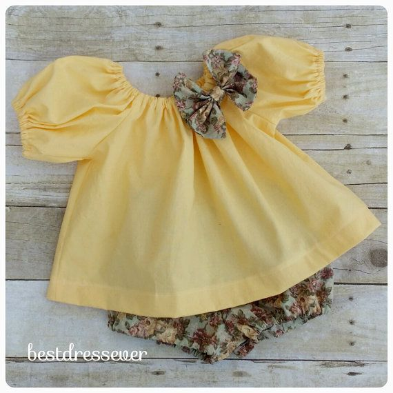 Baby Peasant Dress - Baby Bloomers - Baby Photo Outfit - Yellow Infant Dress and Diaper Cover - Girl First Birthday Outfit - Boutique Outfit #babygirlpartydresses