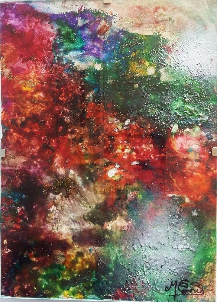 Tableau- peinture abstraite sous verre VEGETATION SOUS MARINE M