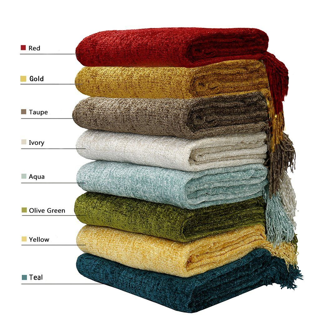 DOZZZ Decorative Throw Couch Chenille Throw Blanket Knitted Tweed Throw Sofa  Cover Blanket 50 X 60
