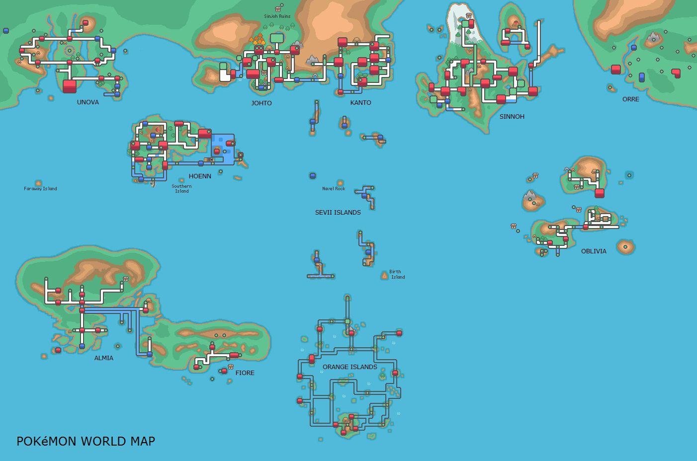 Pokemon world map | Misc. pictures | Pokémon, Video game memes ...