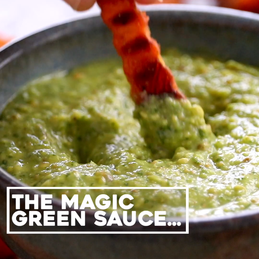 5 Minute Magic Green Sauce - SO AWESOME. Made with easy ingredients like avocado, olive oil, cilant