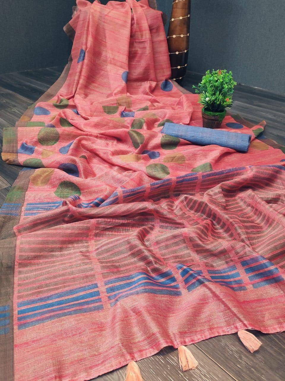 Photo of Soft linen saree with digital Kolkata printing, designer saree, wedding saree, saree for women, sarees, Indian saree, Bridal saree, saree