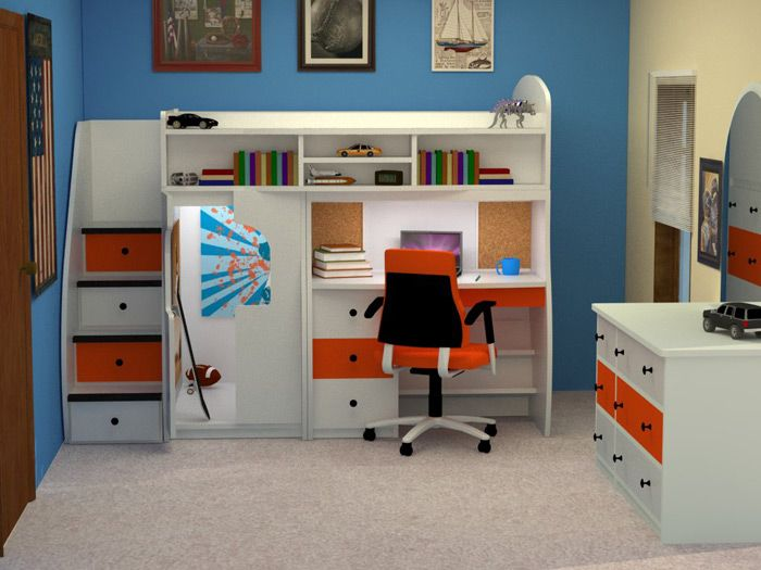 Boys Desk Bed On Top Cubby Stairs Play Storage Closet Lit Desk