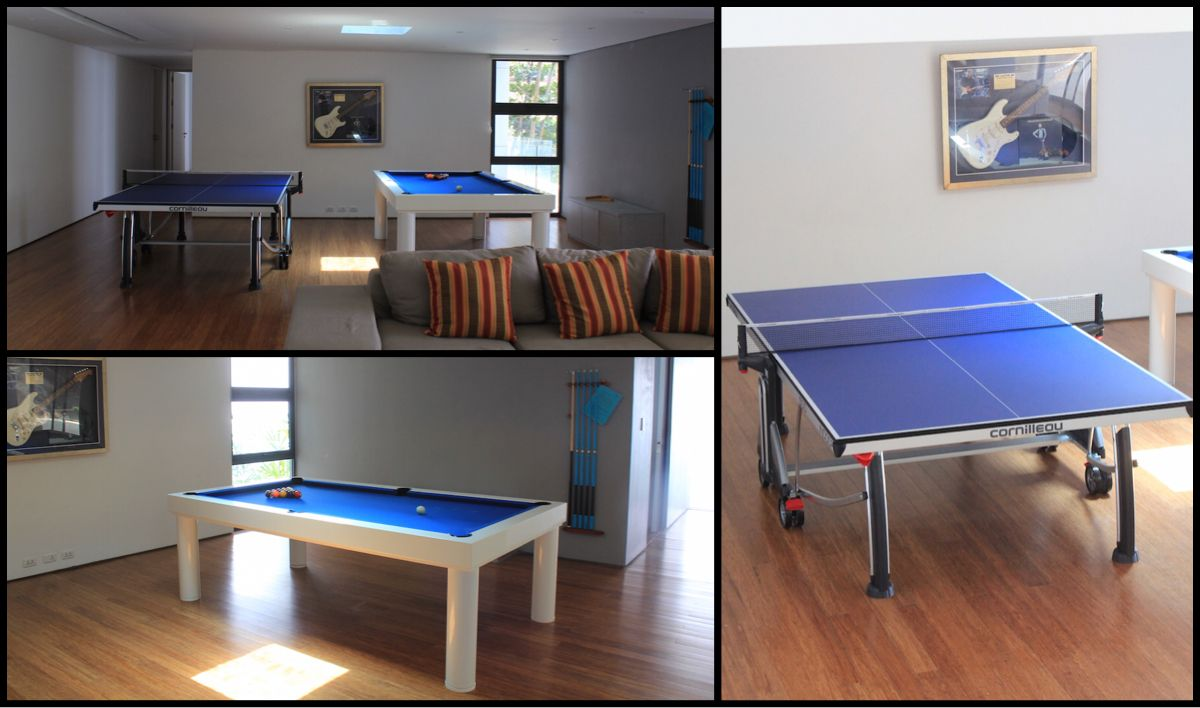 "Just delivered a beautiful Cornilleau Ping Pong Table to one of our great client's gorgeous luxury villa in Phuket. Cornilleau 500 table tennis, pictures alongside our Outdoor Pool Table ""mood"" model. Our all weather pool tables are meant for indoors and outdoor. Billiards and Ping Pong are a must in every games room and mancave! Give us a call to get yours today"