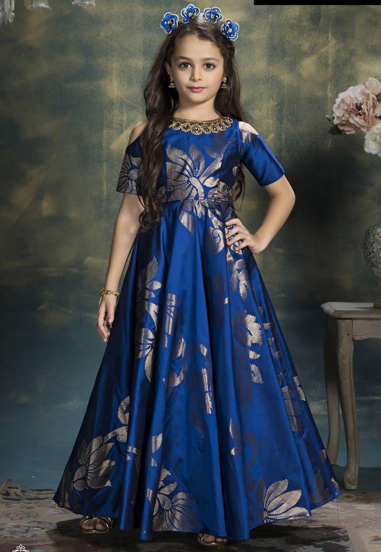 7612364a3f48e Eshals heavy royal blue gown of jequard silk fabric of wedding wear ...