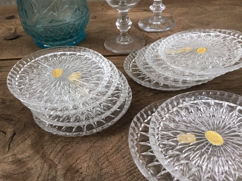 Wine Glasses Coaster 10 Vintage Pressed Crystal Coasters Molded