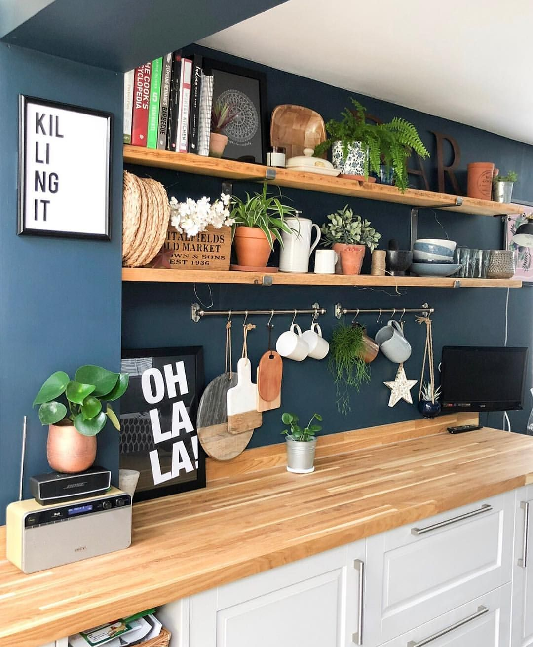 Best Blue Kitchen Walls Shelfie Home Kitchens Kitchen Decor 400 x 300