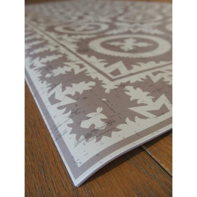 tapis vinyle pvc motifs carreaux de ciment beige vintage. Black Bedroom Furniture Sets. Home Design Ideas