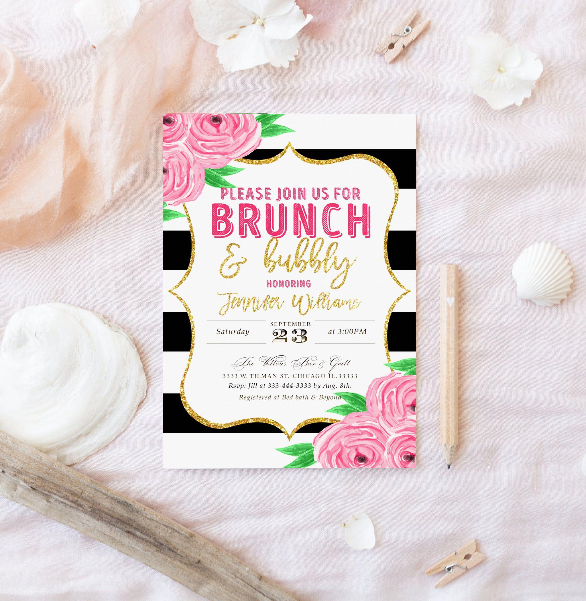 Bridal Shower Invitation, Floral Black And White, Kate Spade Invitation,