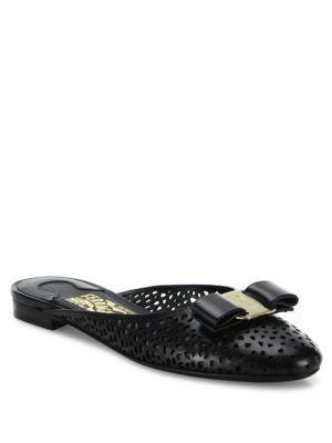 SALVATORE FERRAGAMO Emile Laser-Cut Leather Flat Slides. #salvatoreferragamo  #shoes #flats